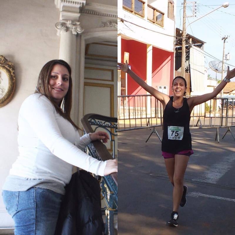 Em 2013, na lua de mel, com o peso máximo, e em uma corrida de 10k na cidade de Quadra (SP) depois de começar a se exercitar